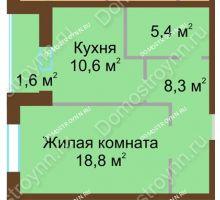 1 комнатная квартира 44,7 м² в ЖК Монолит, дом № 89, корп. 1, 2 - планировка