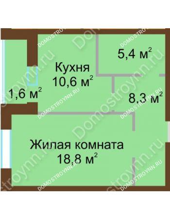 1 комнатная квартира 44,7 м² в ЖК Монолит, дом № 89, корп. 1, 2