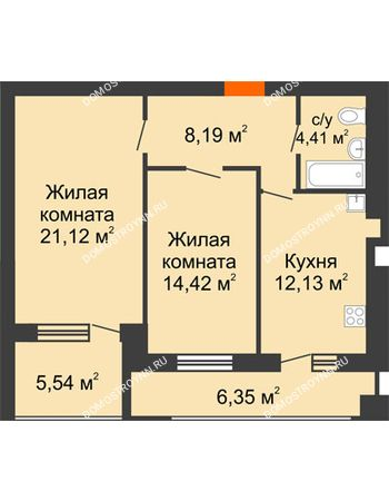 2 комнатная квартира 66,21 м² в ЖК Свобода, дом 2 очередь
