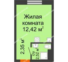 Студия 17,29 м² в ЖК Торпедо, дом № 14 - планировка