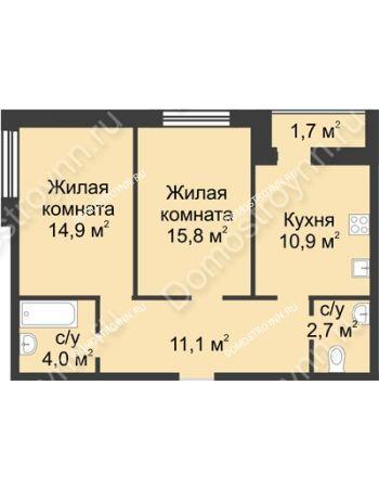 2 комнатная квартира 61,1 м² - ЖК Дом на Иванова