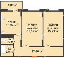 2 комнатная квартира 64,37 м² в ЖК Фрунзе, 85, дом № 3 - планировка