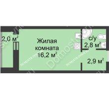 Студия 23,9 м², ЖК Дом на Иванова - планировка