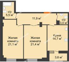 2 комнатная квартира 79,4 м² в ЖК Квартет, дом № 3 - планировка