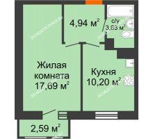 1 комнатная квартира 39,05 м² в ЖК Книги, дом № 1 - планировка