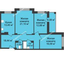 3 комнатная квартира 90,85 м² в ЖК Планетарий, дом № 6 - планировка