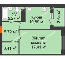 1 комнатная квартира 44,52 м² в ЖК Облака, дом № 2 - планировка