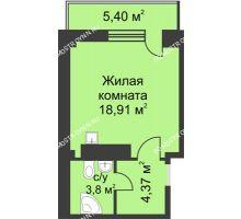 Студия 29,3 м² в ЖК На Победной, дом № 4 - планировка