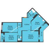 3 комнатная квартира 89,96 м², ЖК Сограт - планировка