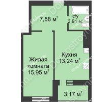 1 комнатная квартира 43,85 м² - ЖК Буревестник