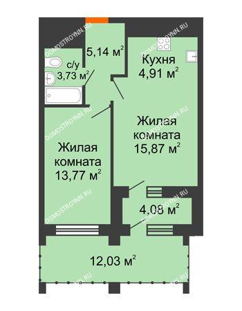 1 комнатная квартира 49,07 м² в ЖК Дом на Набережной, дом № 1