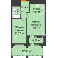 1 комнатная квартира 49,07 м² в ЖК Дом на Набережной, дом № 1 - планировка