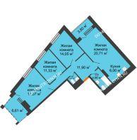 3 комнатная квартира 91,61 м² в ЖК Дом на Набережной, дом № 1 - планировка