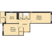 2 комнатная квартира 58,86 м² в ЖК Университетский парк, дом 2 очередь - планировка