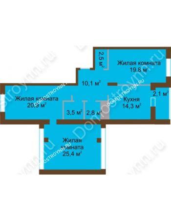 3 комнатная квартира 101,4 м² в ЖК Монолит, дом № 89, корп. 1, 2