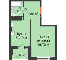 1 комнатная квартира 38,25 м², ЖК Вершина - планировка