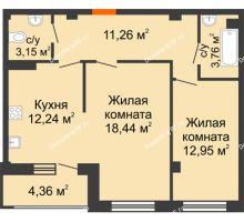 2 комнатная квартира 63,98 м² в Жилой район Берендей, дом № 14 - планировка