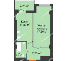 1 комнатная квартира 43,1 м², ЖК Уютный дом на Мечникова - планировка