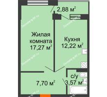 1 комнатная квартира 42,2 м² в ЖК Мандарин, дом 1 позиция 1,2 секция - планировка
