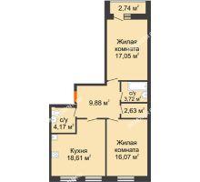 2 комнатная квартира 73,5 м², ЖК На Высоте - планировка
