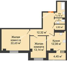 2 комнатная квартира 74,66 м², ЖК Площадь Ленина - планировка