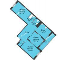 3 комнатная квартира 108 м² в ЖК Монолит, дом № 89, корп. 3 - планировка