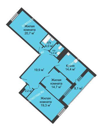 3 комнатная квартира 108 м² в ЖК Монолит, дом № 89, корп. 3