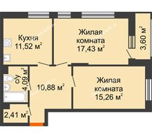 2 комнатная квартира 63,39 м², ЖД Жизнь - планировка