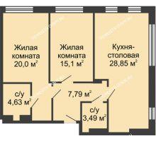2 комнатная квартира 79,85 м² в ЖК TRINITY (Тринити), дом № 1 - планировка