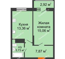 1 комнатная квартира 41,48 м² в Макрорайон Амград, дом №1 - планировка