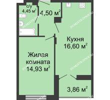 1 комнатная квартира 42,12 м² в ЖК Клевер, дом № 2