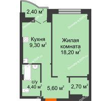 1 комнатная квартира 42,6 м² в ЖК Парк Островского 2, дом № 1 - планировка
