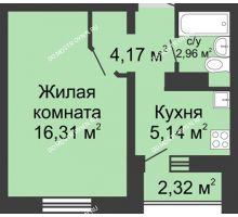 1 комнатная квартира 29,74 м² в ЖК Бурнаковский, дом № 39