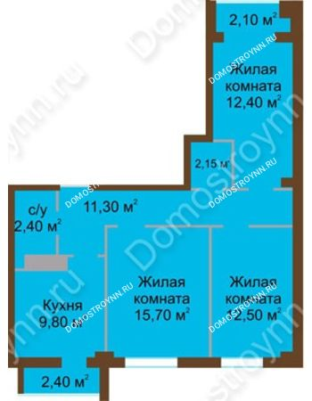 3 комнатная квартира 68,5 м² - ЖК Северный Дворик