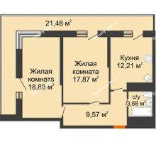2 комнатная квартира 73 м², ЖК Время - планировка