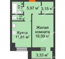 1 комнатная квартира 43,88 м² в ЖК Парк Горького, дом 62/18, № 6 - планировка