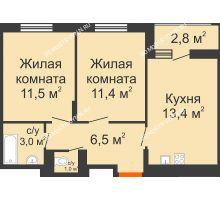 2 комнатная квартира 48,2 м² в ЖК Новая Кузнечиха, дом № 31 - планировка