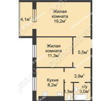 2 комнатная квартира 54,65 м² в ЖК Сормовская сторона, дом № 4