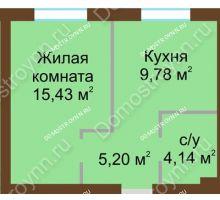 1 комнатная квартира 34,55 м² в ЖК Каменки, дом №14 - планировка