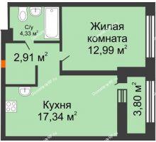 1 комнатная квартира 43,32 м² в ЖК Речной порт, дом № 6 - планировка