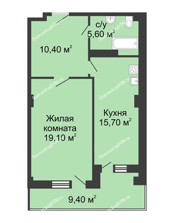 1 комнатная квартира 53,3 м² - ЖК Дом на Береговой