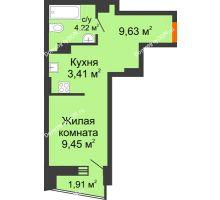 Студия 27,4 м² в ЖК Рубин, дом Литер 3 - планировка