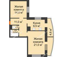2 комнатная квартира 64,7 м² в ЖКСпутник, дом Позиция 4 - планировка