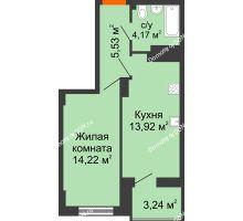 1 комнатная квартира 38,75 м² в ЖК Аврора, дом № 3 - планировка