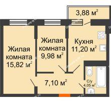 2 комнатная квартира 49,31 м² в ЖК Россинский парк, дом Литер 1 - планировка