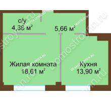 1 комнатная квартира 42,55 м², ЖК Либерти - планировка