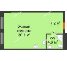 Студия 41,9 м², Комплекс апартаментов KM TOWER PLAZA (КМ ТАУЭР ПЛАЗА) - планировка