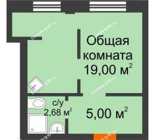 1 комнатная квартира 26,7 м² в Микрорайон Новая жизнь, дом позиция 19 - планировка