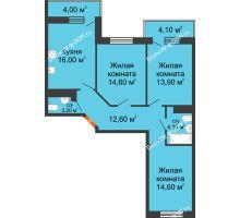 3 комнатная квартира 82,3 м² в ЖК Я, дом  Литер 2 - планировка