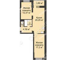2 комнатная квартира 60,18 м² - ЖК Университетский